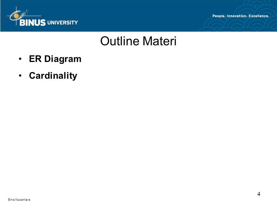 Outline Materi ER Diagram Cardinality 4 Bina Nusantara