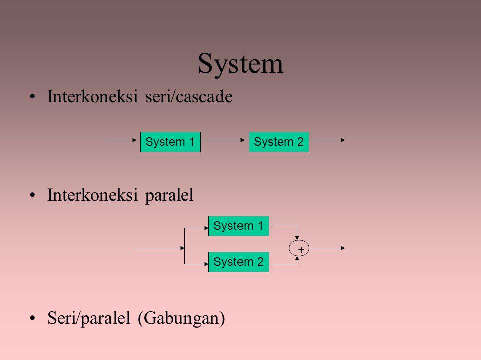 System Interkoneksi seri/cascade Interkoneksi paralel