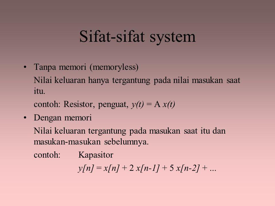 Sifat-sifat system Tanpa memori (memoryless)