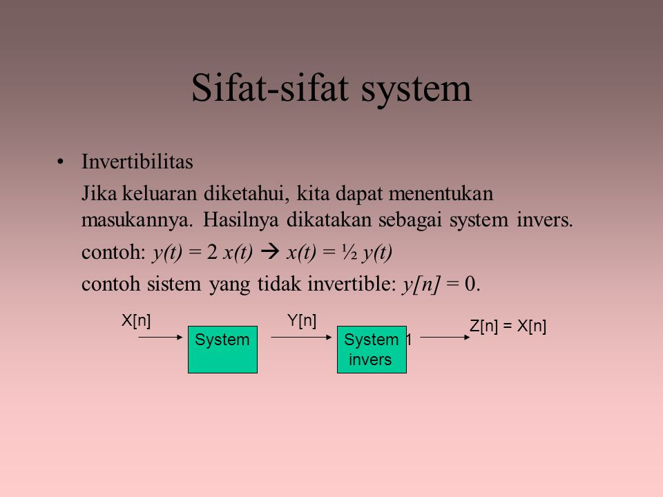 Sifat-sifat system Invertibilitas
