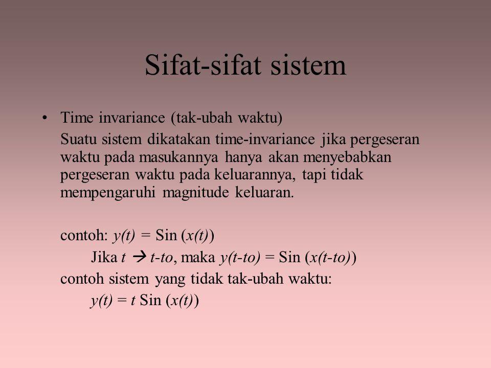Sifat-sifat sistem Time invariance (tak-ubah waktu)
