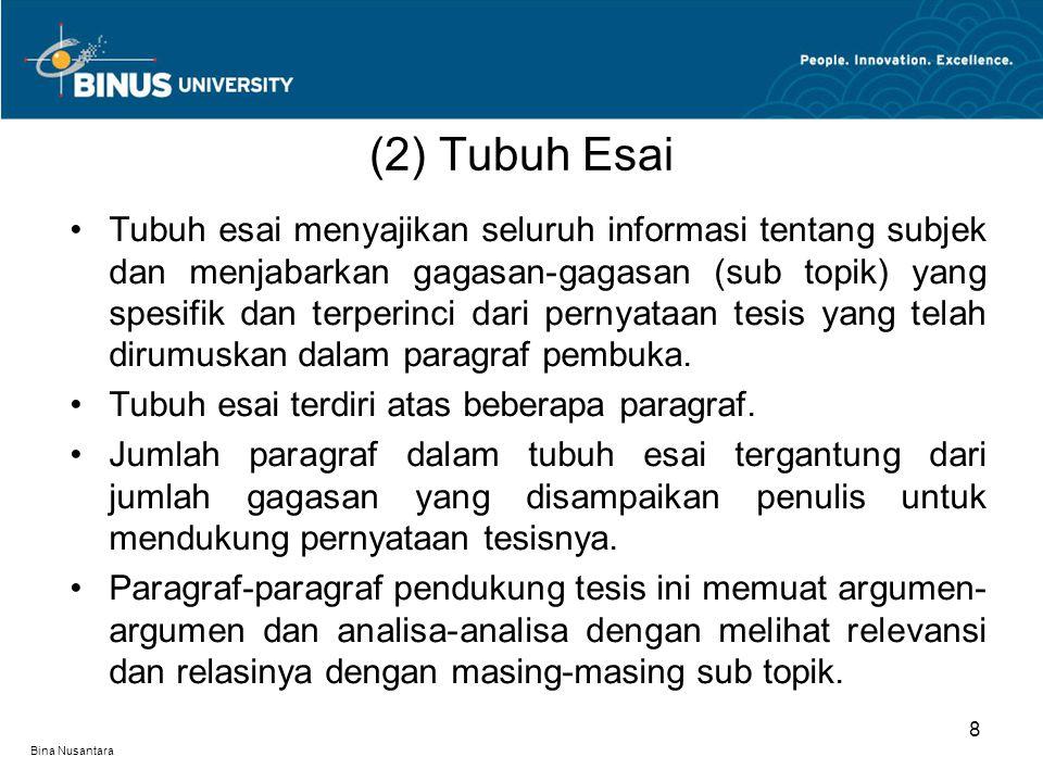 (2) Tubuh Esai