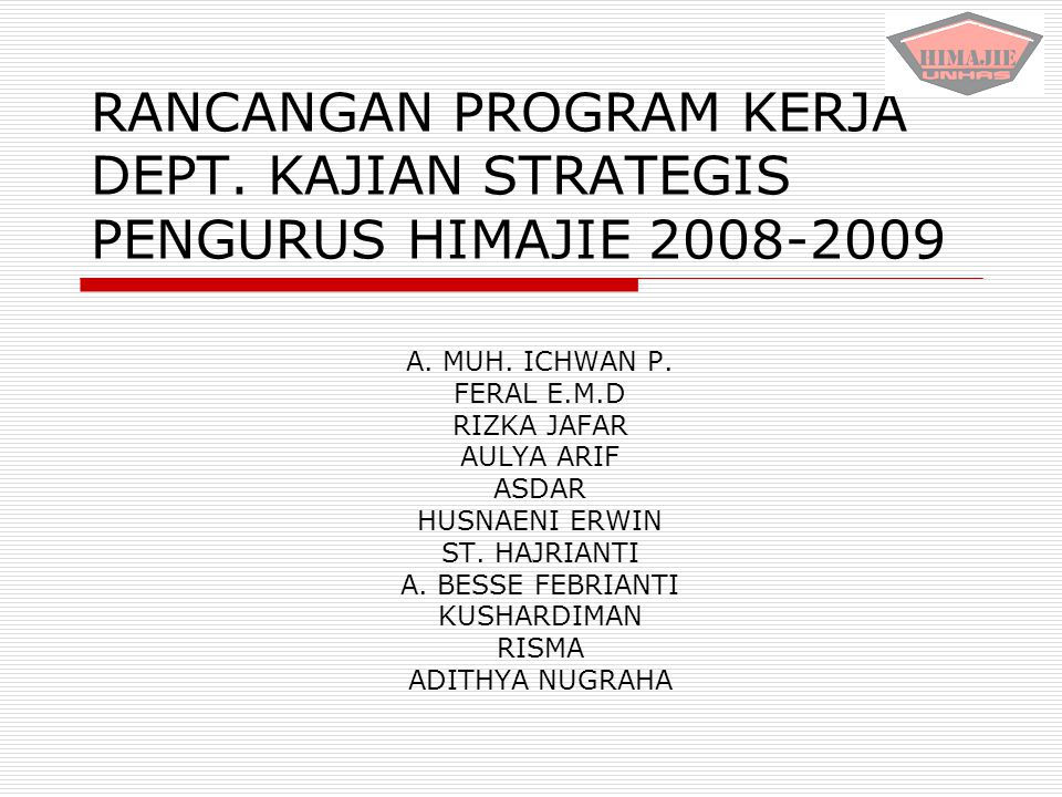 RANCANGAN PROGRAM KERJA DEPT