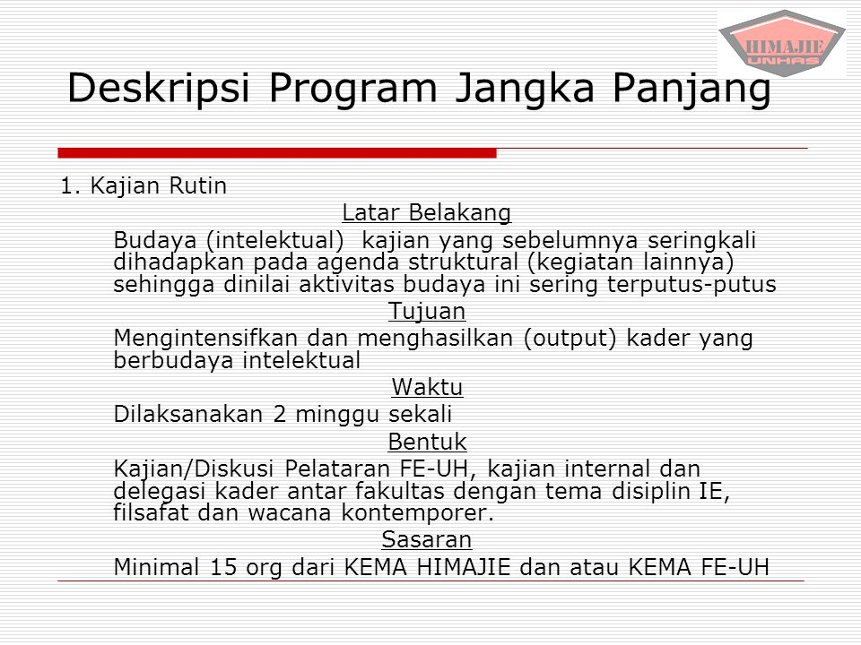 Deskripsi Program Jangka Panjang