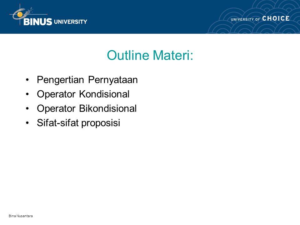 Outline Materi: Pengertian Pernyataan Operator Kondisional