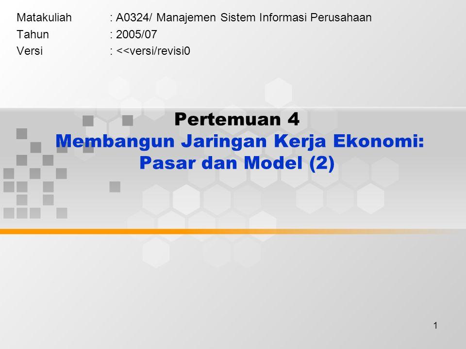 Pertemuan 4 Membangun Jaringan Kerja Ekonomi: Pasar dan Model (2)