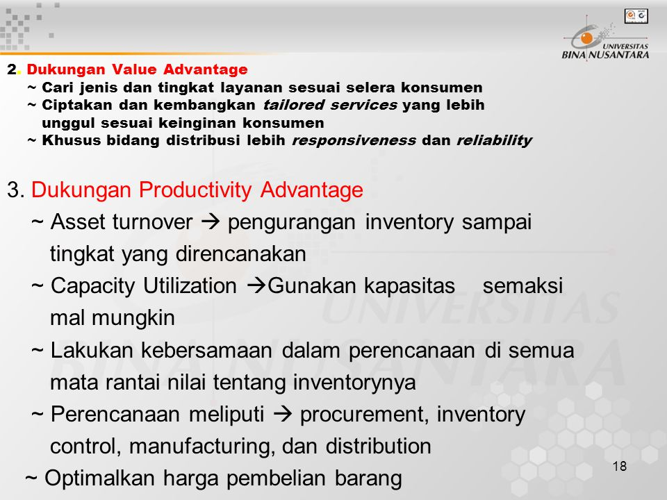 3. Dukungan Productivity Advantage