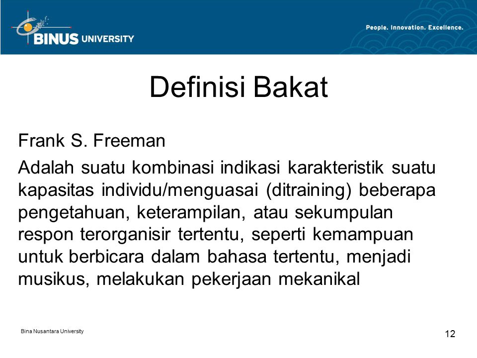 Definisi Bakat Frank S. Freeman