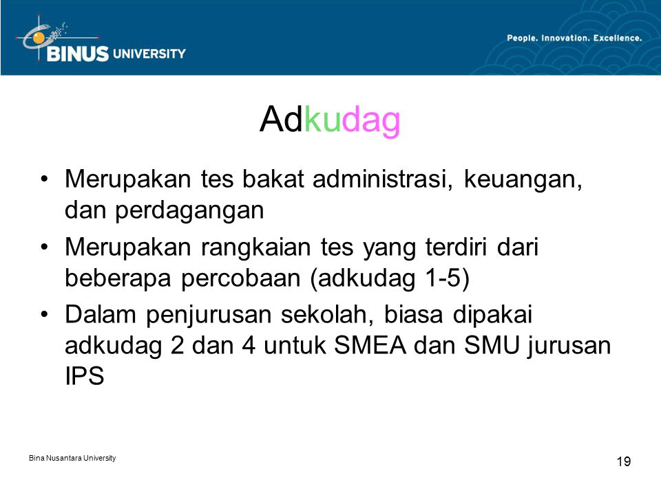 Adkudag Merupakan tes bakat administrasi, keuangan, dan perdagangan