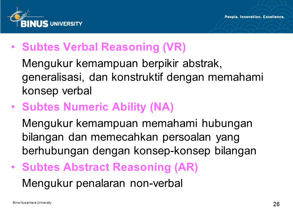 Subtes Verbal Reasoning (VR)