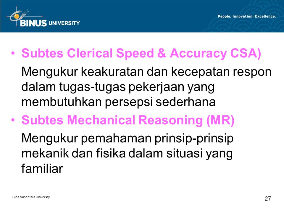 Subtes Clerical Speed & Accuracy CSA)