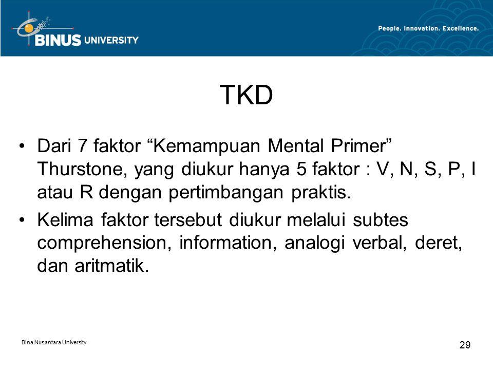 TKD Dari 7 faktor Kemampuan Mental Primer Thurstone, yang diukur hanya 5 faktor : V, N, S, P, I atau R dengan pertimbangan praktis.