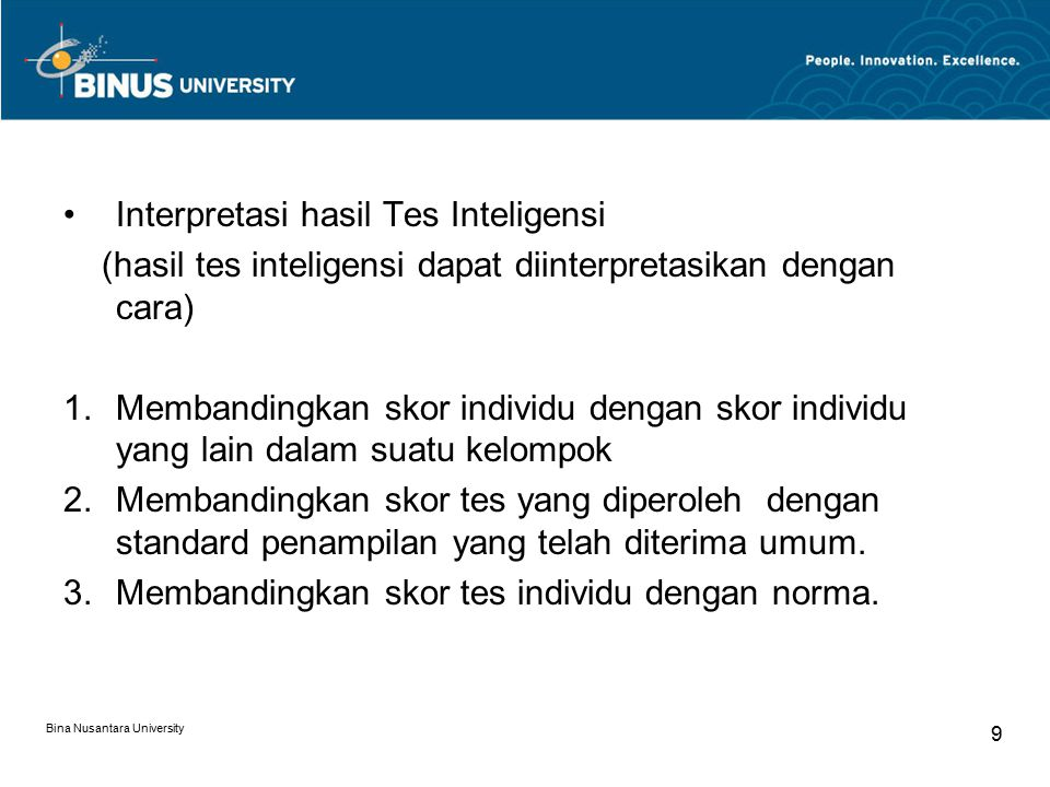 Interpretasi hasil Tes Inteligensi