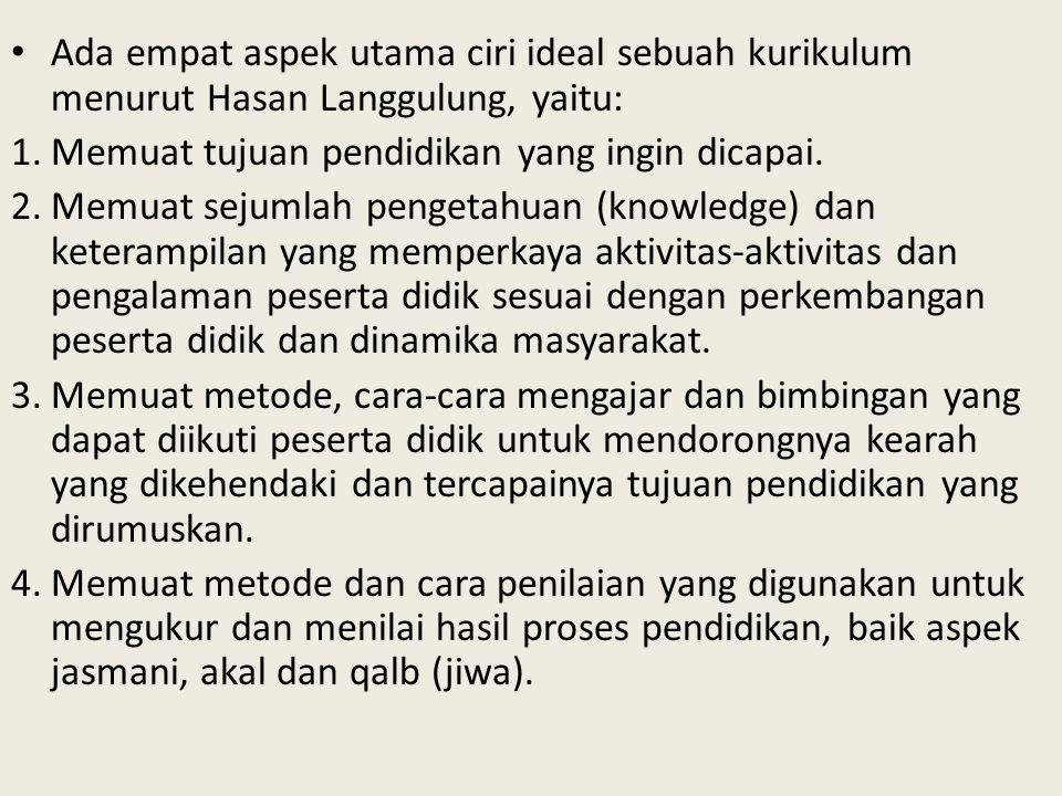 Ada empat aspek utama ciri ideal sebuah kurikulum menurut Hasan Langgulung, yaitu: