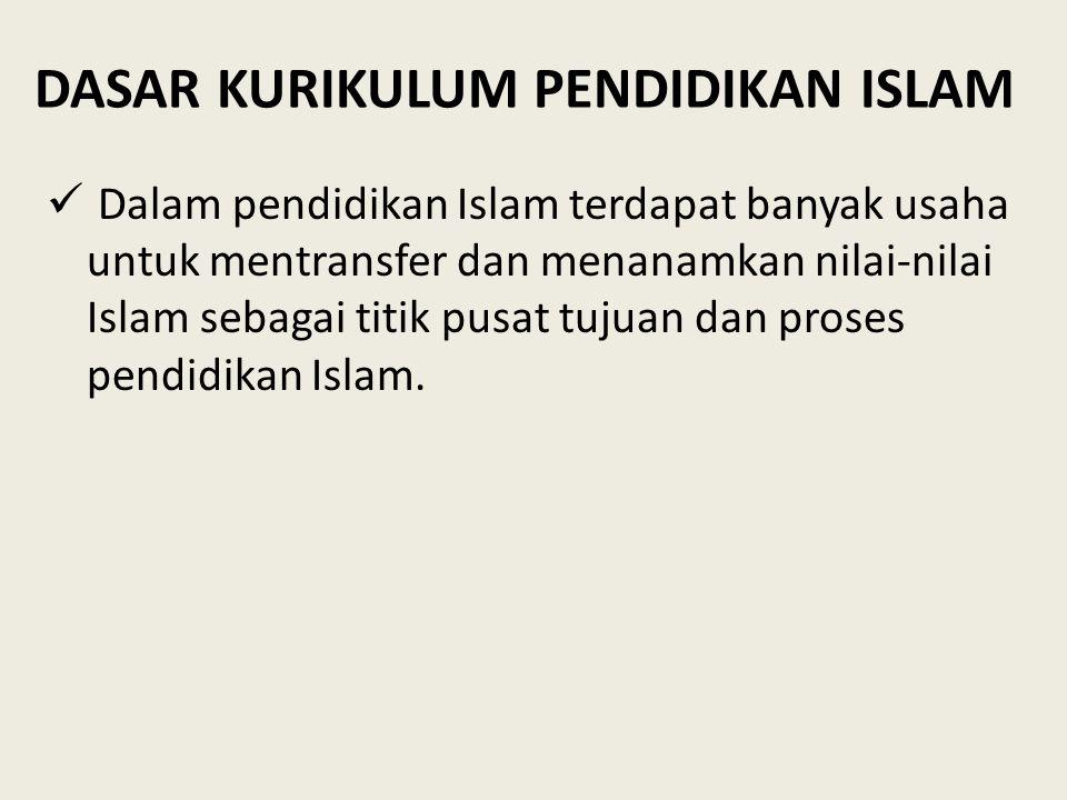 DASAR KURIKULUM PENDIDIKAN ISLAM