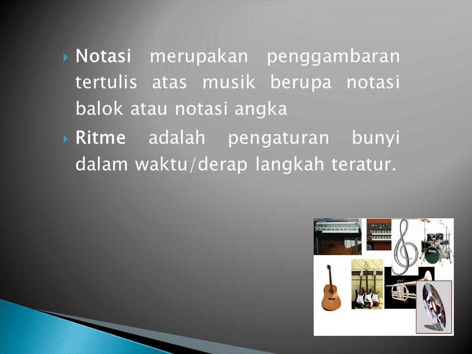 Notasi merupakan penggambaran tertulis atas musik berupa notasi balok atau notasi angka