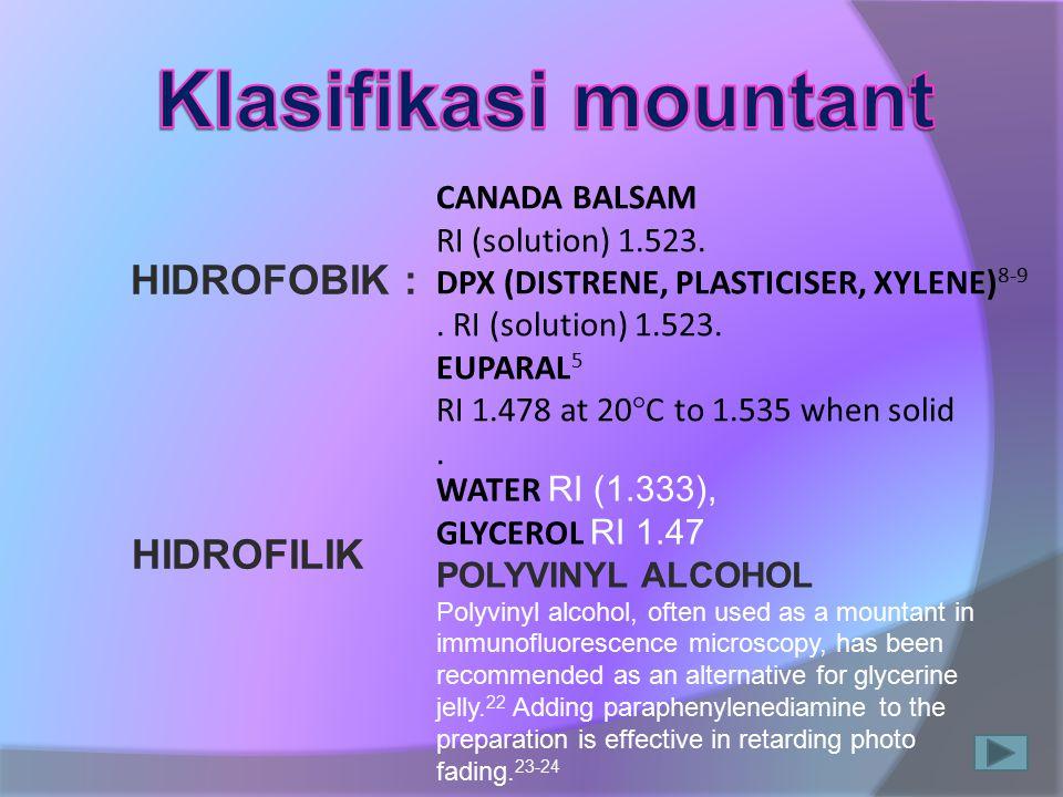 Klasifikasi mountant HIDROFOBIK : HIDROFILIK