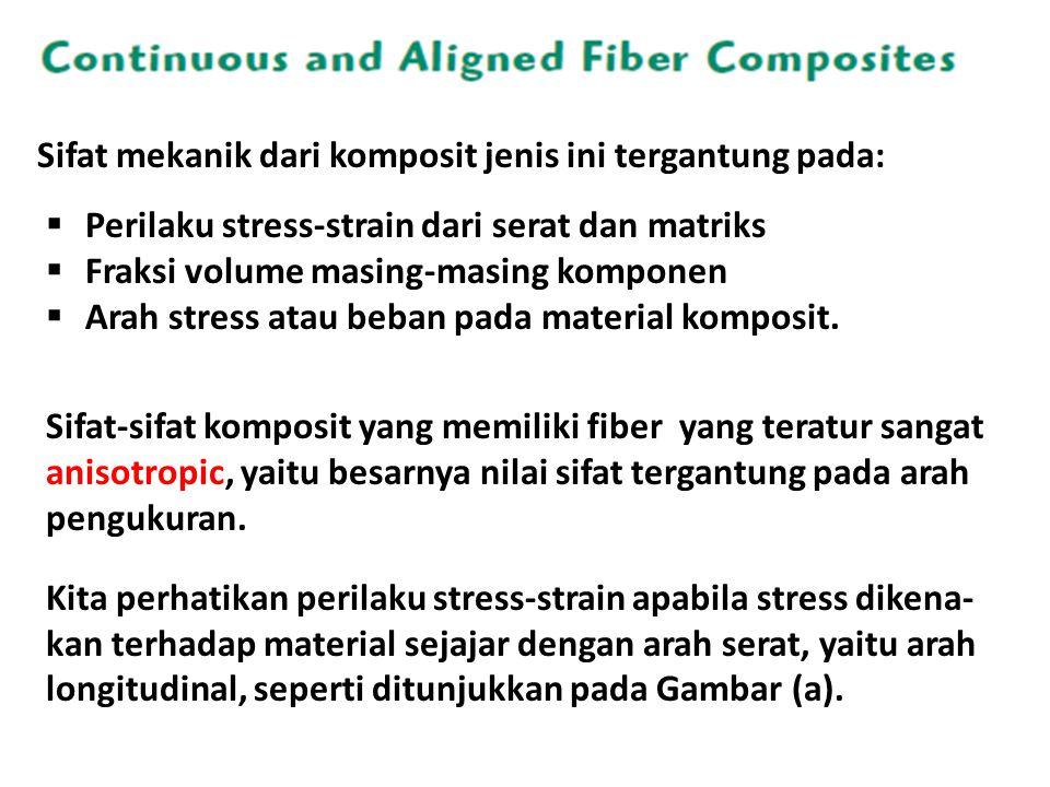 Sifat mekanik dari komposit jenis ini tergantung pada:
