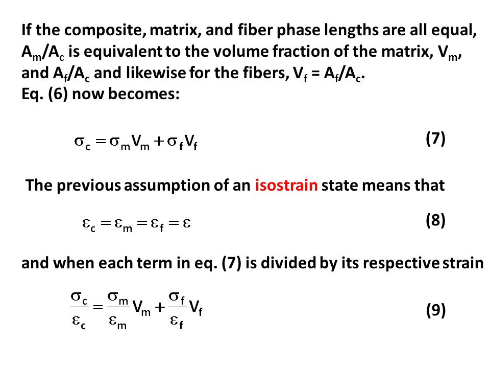 If the composite, matrix, and fiber phase lengths are all equal, Am/Ac is equivalent to the volume fraction of the matrix, Vm, and Af/Ac and likewise for the fibers, Vf = Af/Ac.