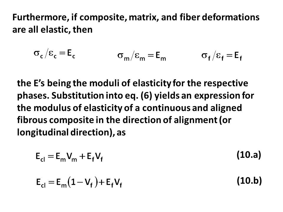 Furthermore, if composite, matrix, and fiber deformations are all elastic, then
