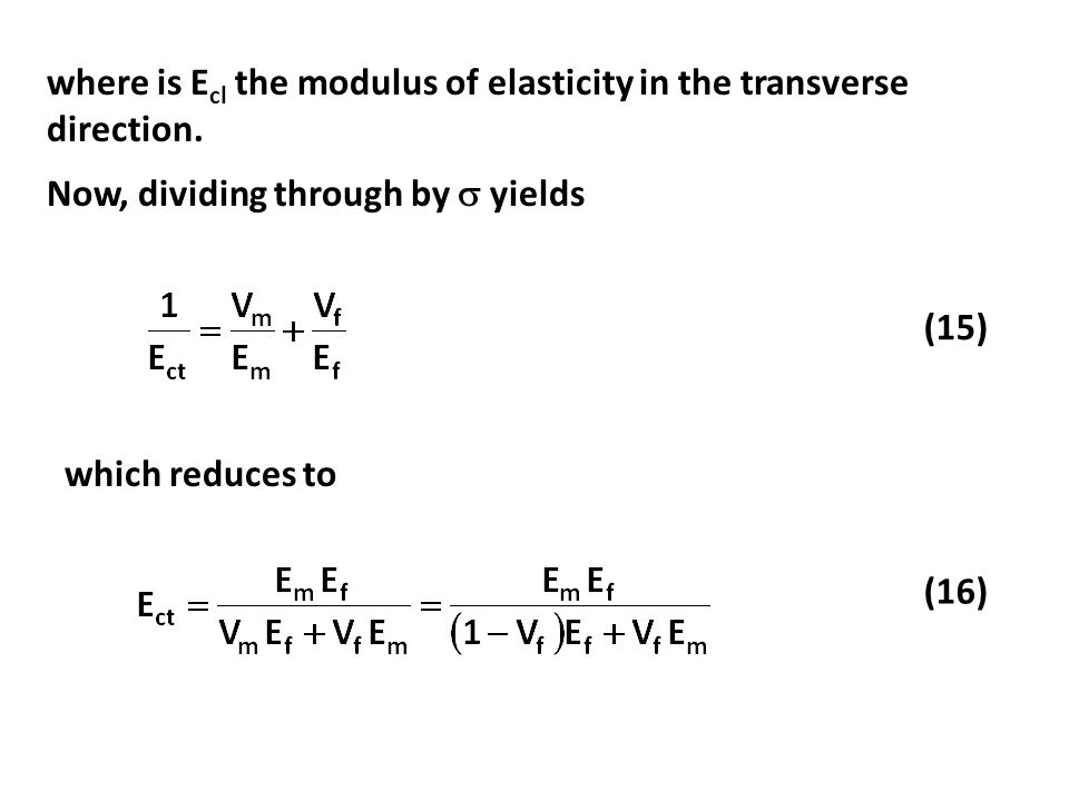 where is Ecl the modulus of elasticity in the transverse direction.