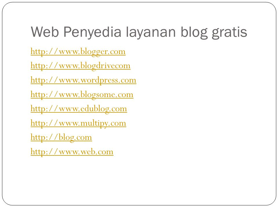 Web Penyedia layanan blog gratis