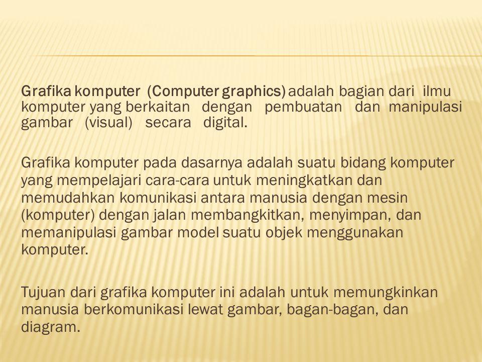 Grafika komputer (Computer graphics) adalah bagian dari ilmu komputer yang berkaitan dengan pembuatan dan manipulasi gambar (visual) secara digital.