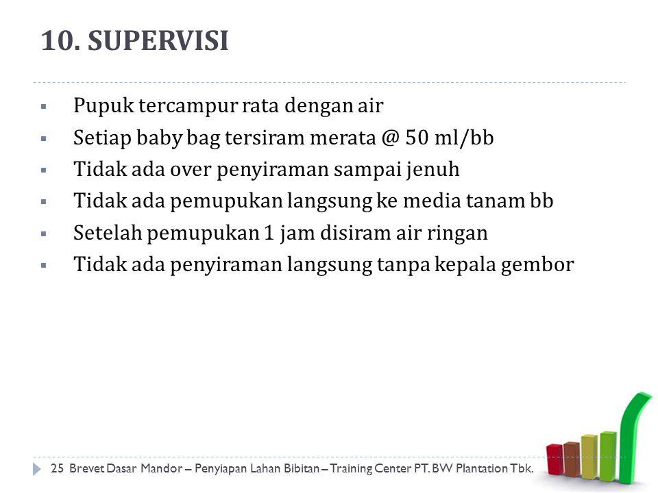 10. SUPERVISI Pupuk tercampur rata dengan air