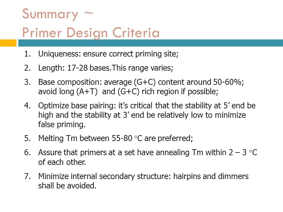 Summary ~ Primer Design Criteria