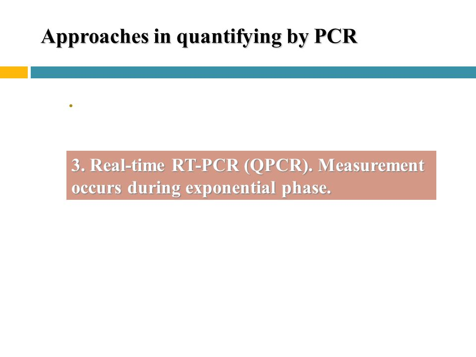 Approaches in quantifying by PCR