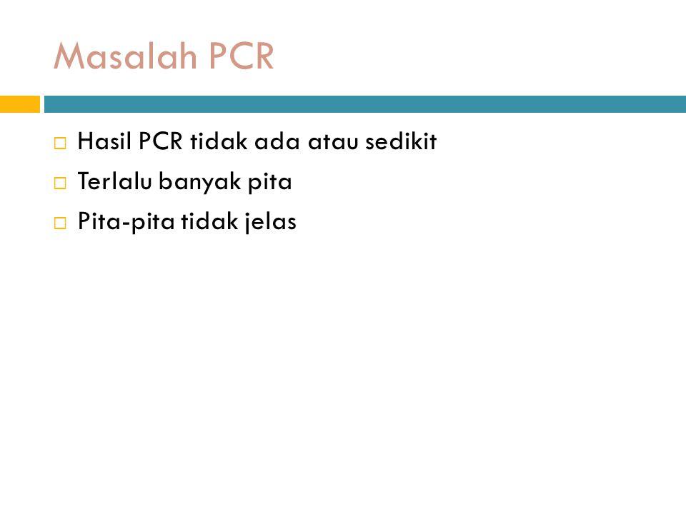 Masalah PCR Hasil PCR tidak ada atau sedikit Terlalu banyak pita