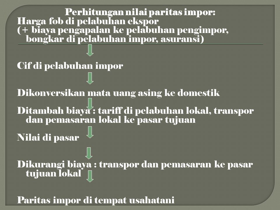 Perhitungan nilai paritas impor: