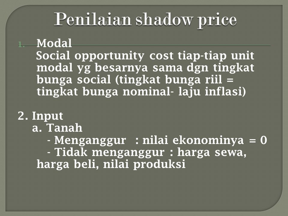 Penilaian shadow price
