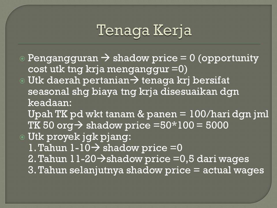 Tenaga Kerja Pengangguran  shadow price = 0 (opportunity cost utk tng krja menganggur =0)