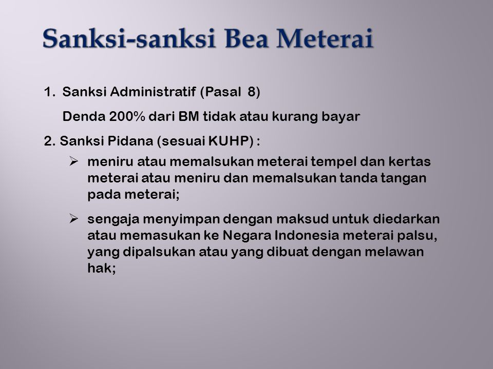 Sanksi-sanksi Bea Meterai