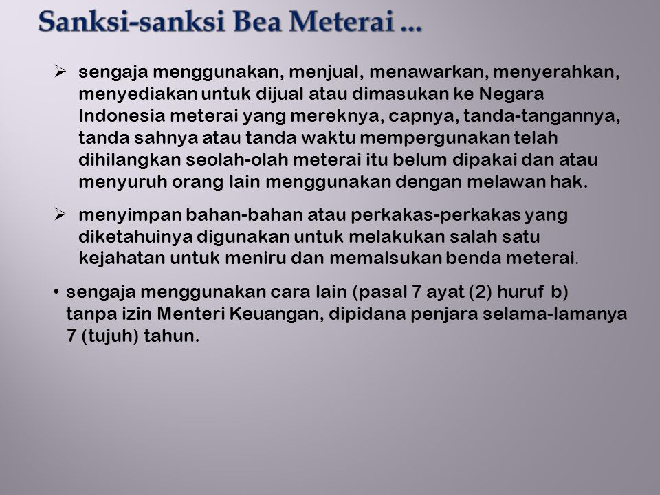 Sanksi-sanksi Bea Meterai ...