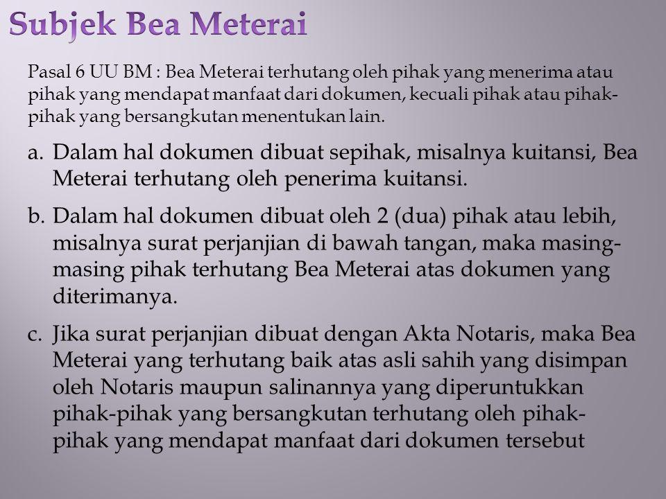 Subjek Bea Meterai