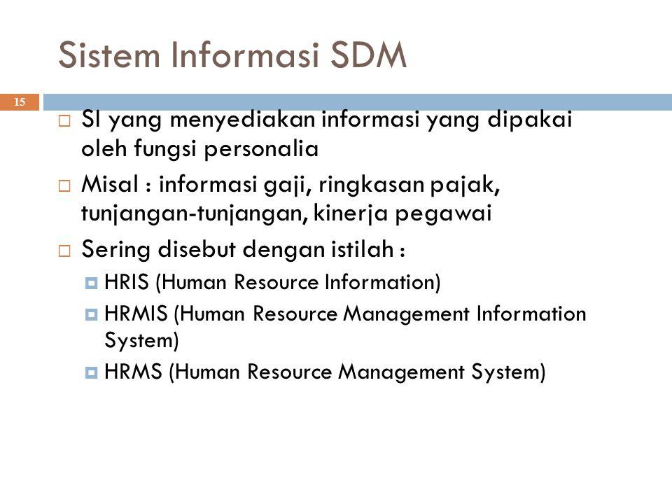 Sistem Informasi SDM SI yang menyediakan informasi yang dipakai oleh fungsi personalia.