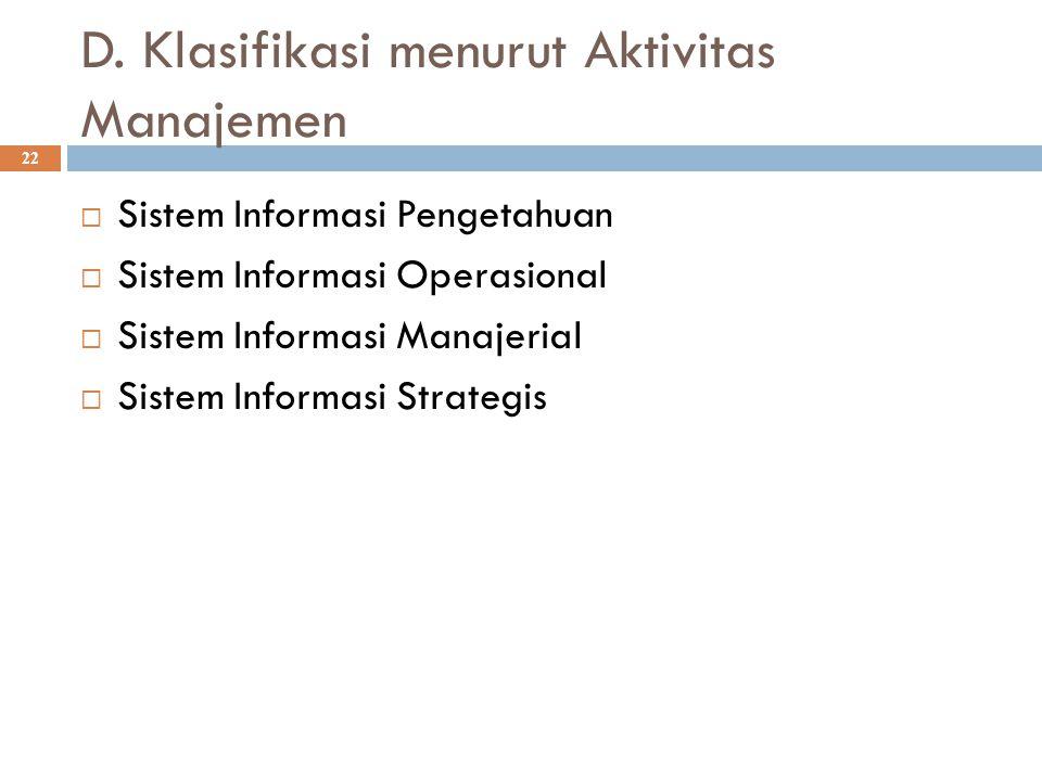 D. Klasifikasi menurut Aktivitas Manajemen