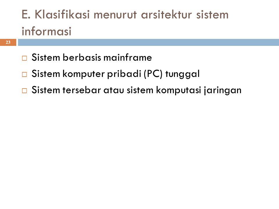 E. Klasifikasi menurut arsitektur sistem informasi