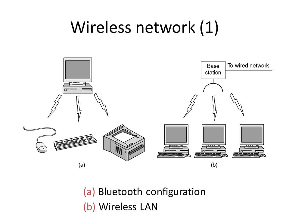 Wireless network (1) (a) Bluetooth configuration (b) Wireless LAN