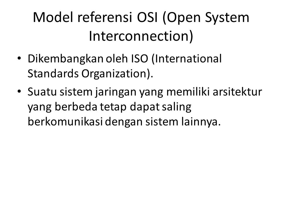 Model referensi OSI (Open System Interconnection)