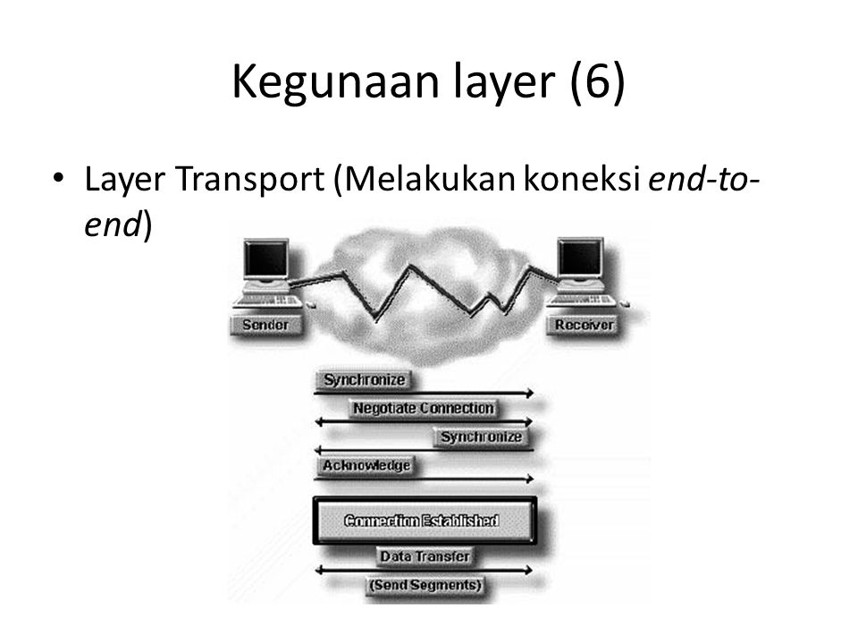 Kegunaan layer (6) Layer Transport (Melakukan koneksi end-to-end)