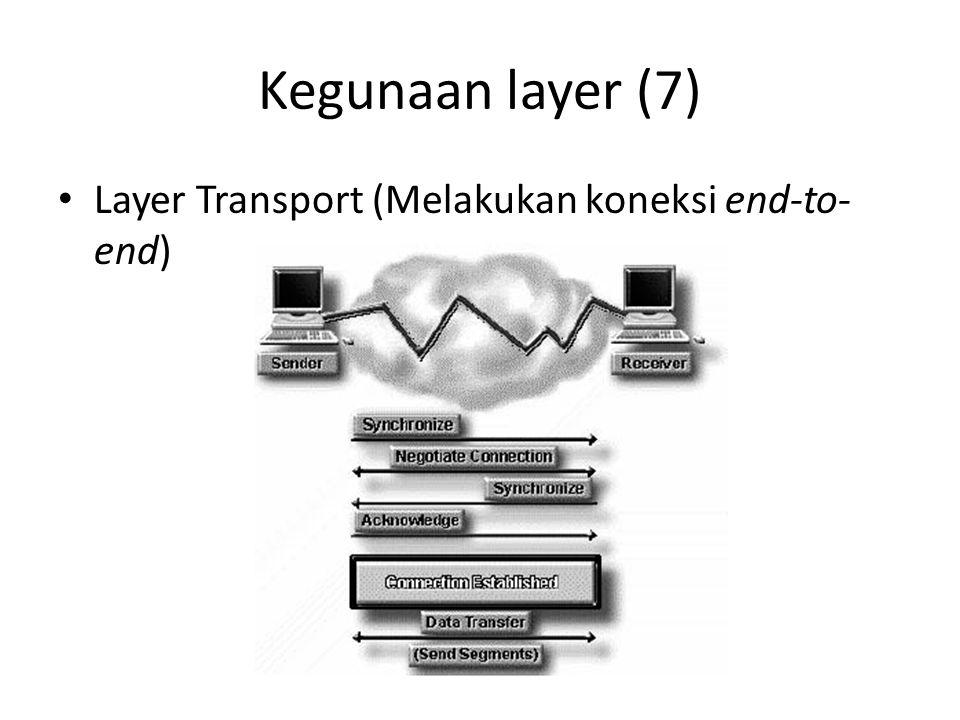 Kegunaan layer (7) Layer Transport (Melakukan koneksi end-to-end)