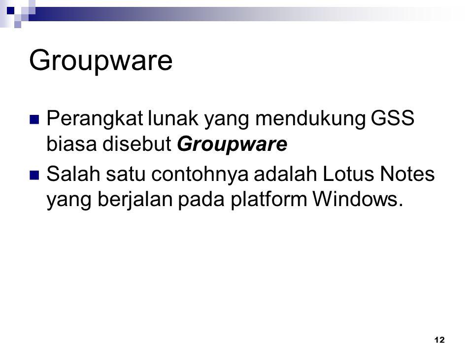 Groupware Perangkat lunak yang mendukung GSS biasa disebut Groupware
