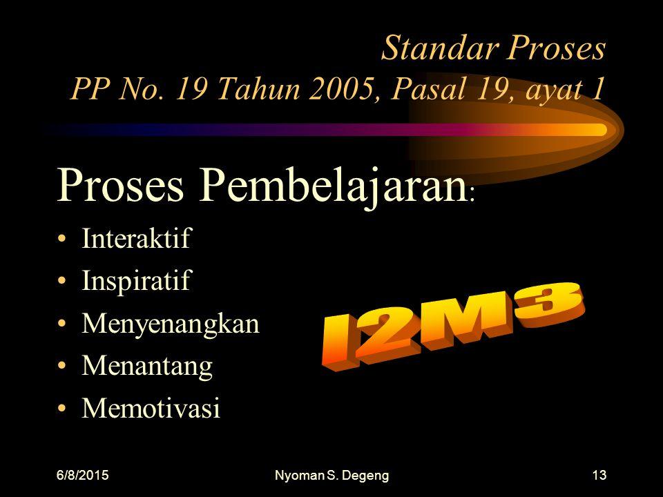 Standar Proses PP No. 19 Tahun 2005, Pasal 19, ayat 1