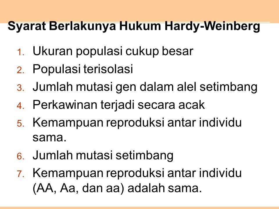 Syarat Berlakunya Hukum Hardy-Weinberg