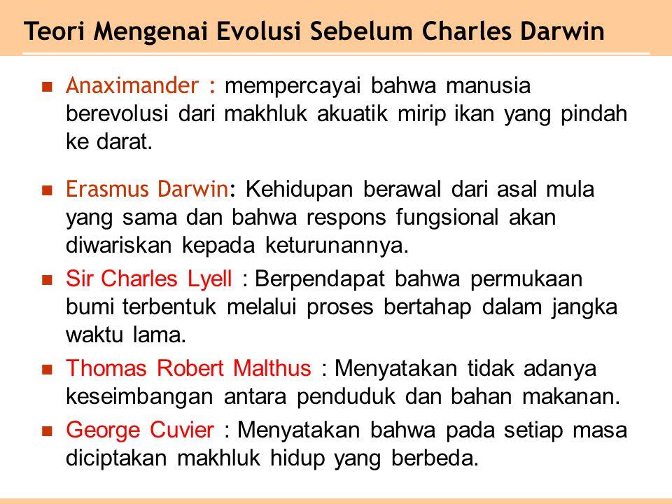 Teori Mengenai Evolusi Sebelum Charles Darwin