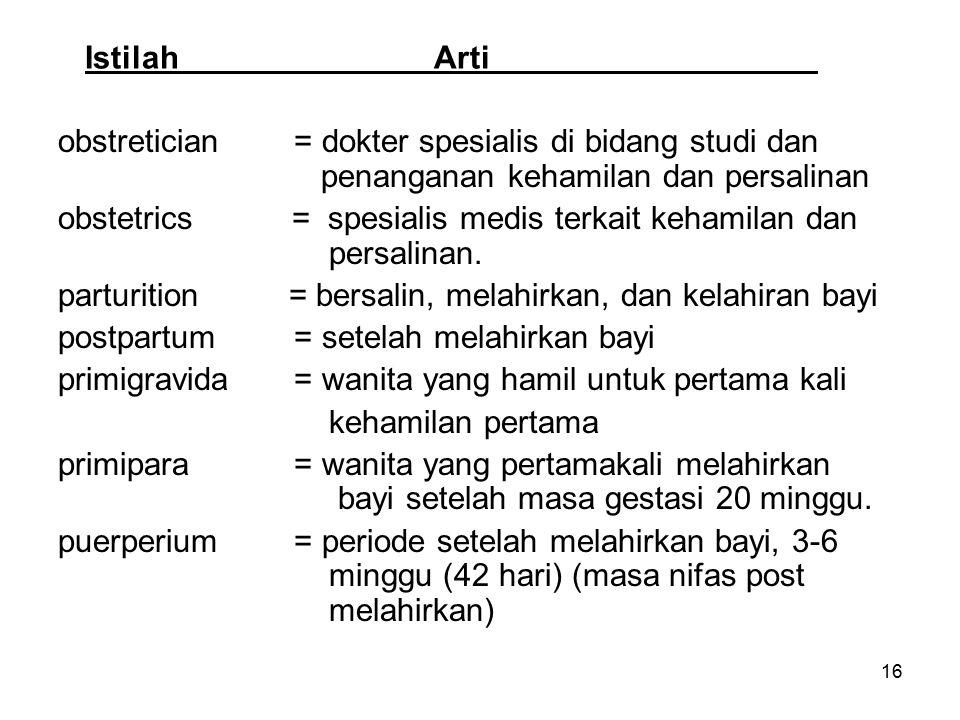 Istilah Arti obstretician = dokter spesialis di bidang studi dan penanganan kehamilan dan persalinan.