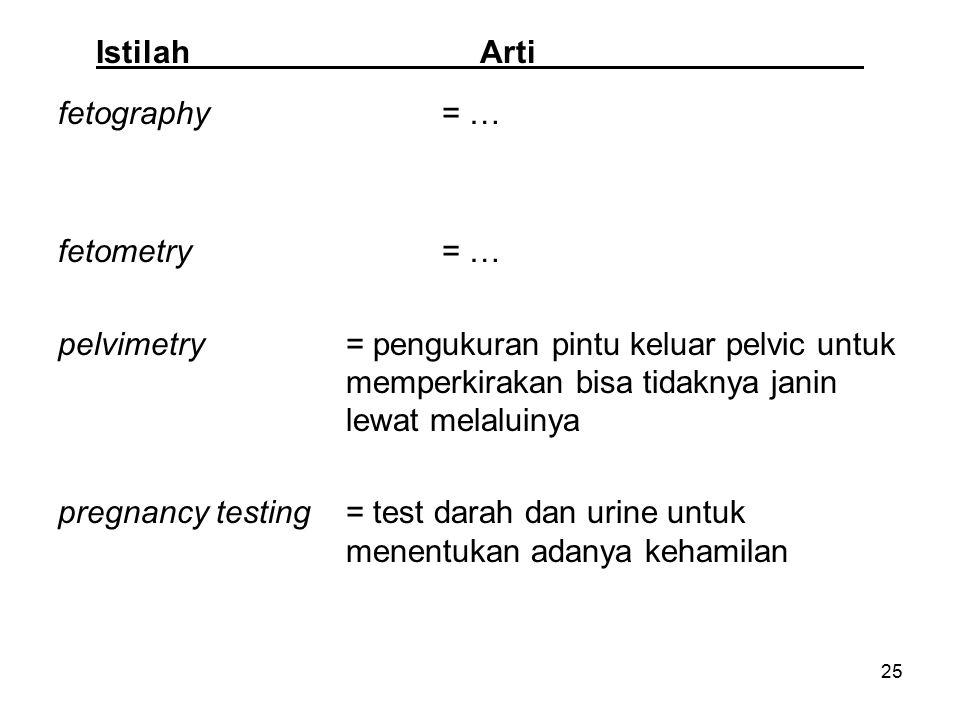 Istilah Arti fetography = … fetometry = …